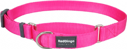 Red Dingo Dog collar Half Check (Martingale) Collar Classic Hot Pink